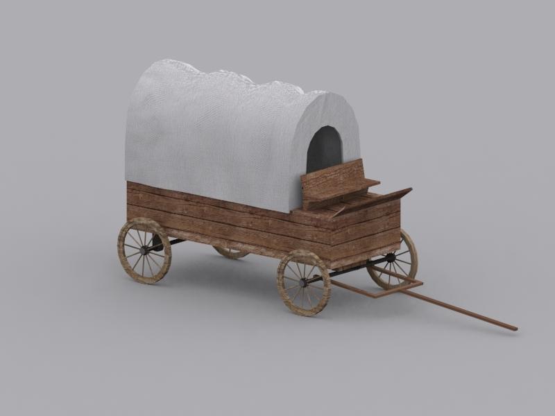3d model wild west wagon