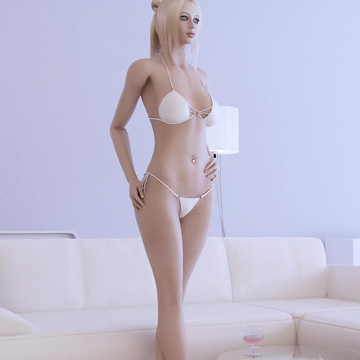 blonde girl female 3d max
