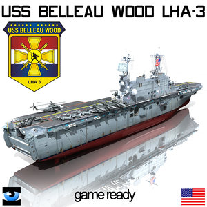 uss belleau lha-3 3d model