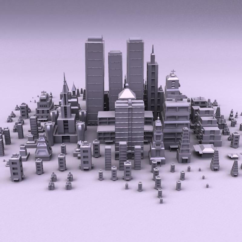 cartoon city buildings 3d obj