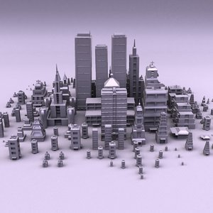 cartoon city buildings 3d obj