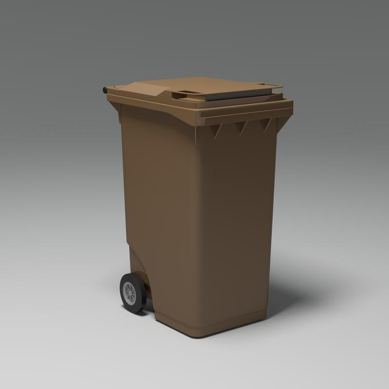 plastic trash bin 3d max