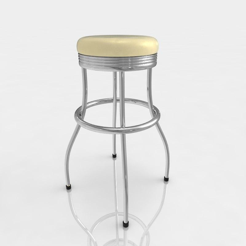 3d model bar stool leather