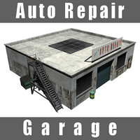 3d auto repair garage shop