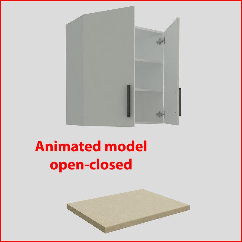 3d model kitchen furnitures 80 cm