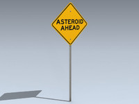 max road sign asteroid ahead
