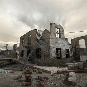 3d model ruined scene