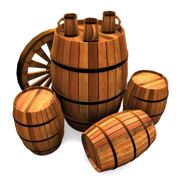barrel beer mugs 3d model