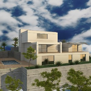 3d model villa building plants trees