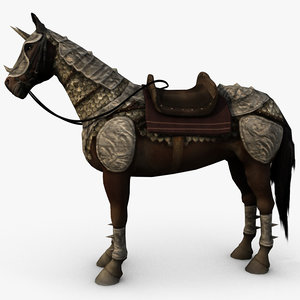 3d model of armored horse saddle
