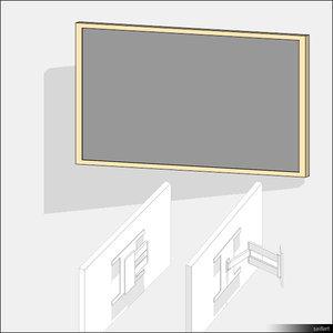 3d model tv wall bracket width