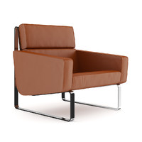 Brown Leather Modern Armchair