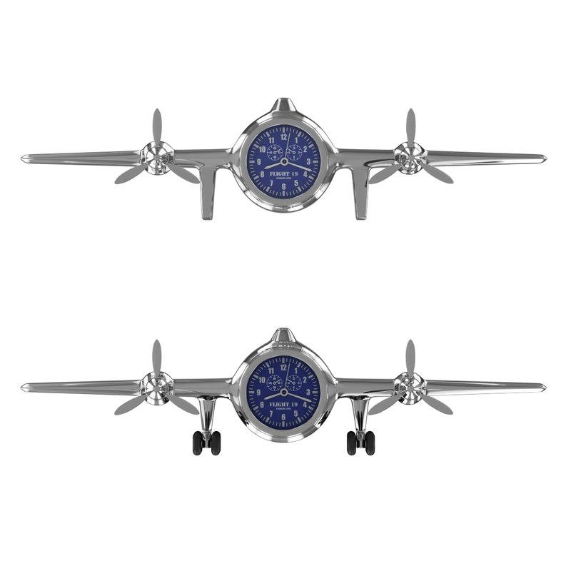 3d model clock airplane