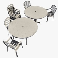 Outdoors Plastic Chair/Table Set 01