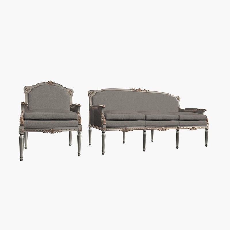 angelo cappellini armchair sofa 3d model