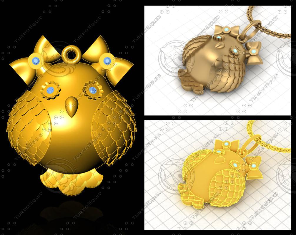 3d owl pendant stl prototyping model