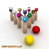 animal skittles children 3d model