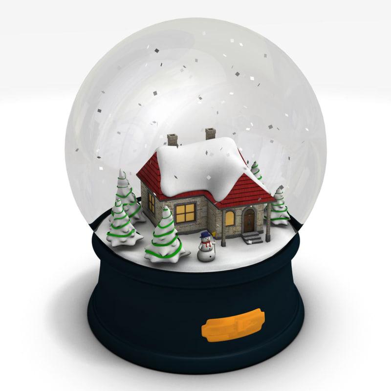 snow globe 3d obj