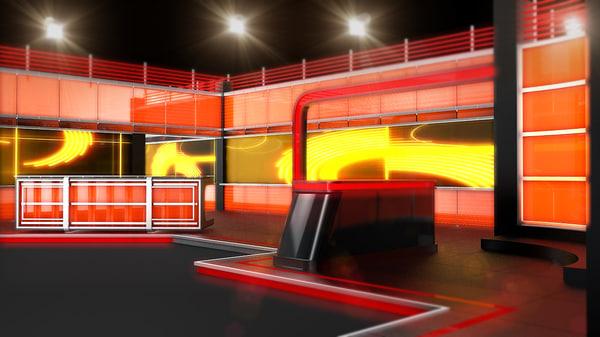 3d model news set