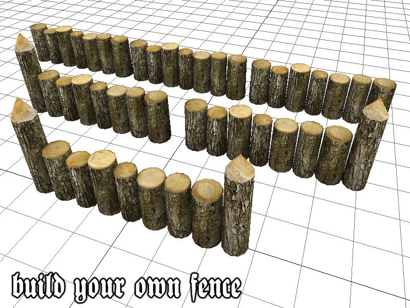 wooden wall fence 3d model