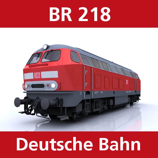 br 218 passenger cargo trains 3d model