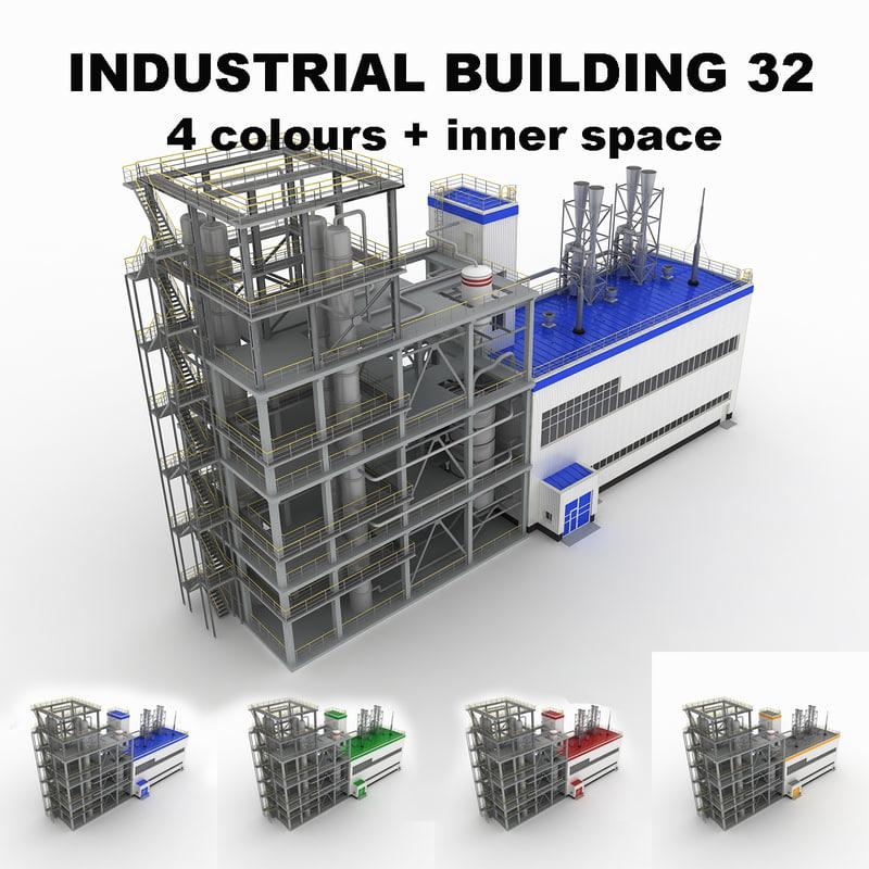 medium industrial building 32 3d 3ds
