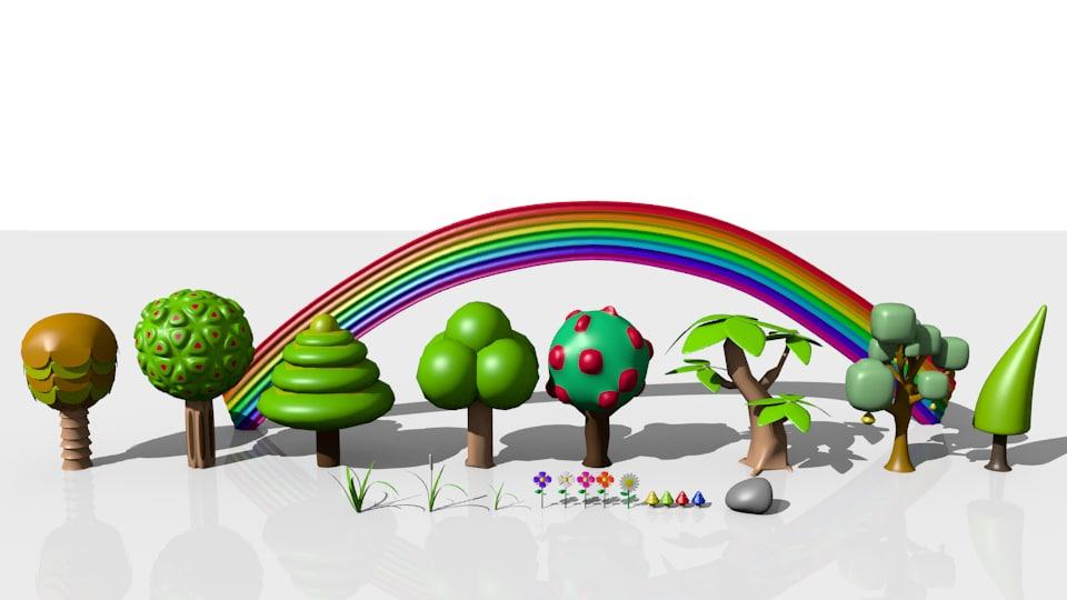 3d garden trees