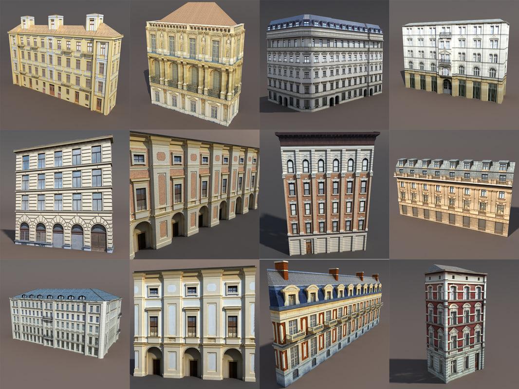 3d model pack neoclassical buildings