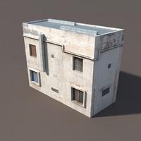 derelict building exterior modelled 3d model