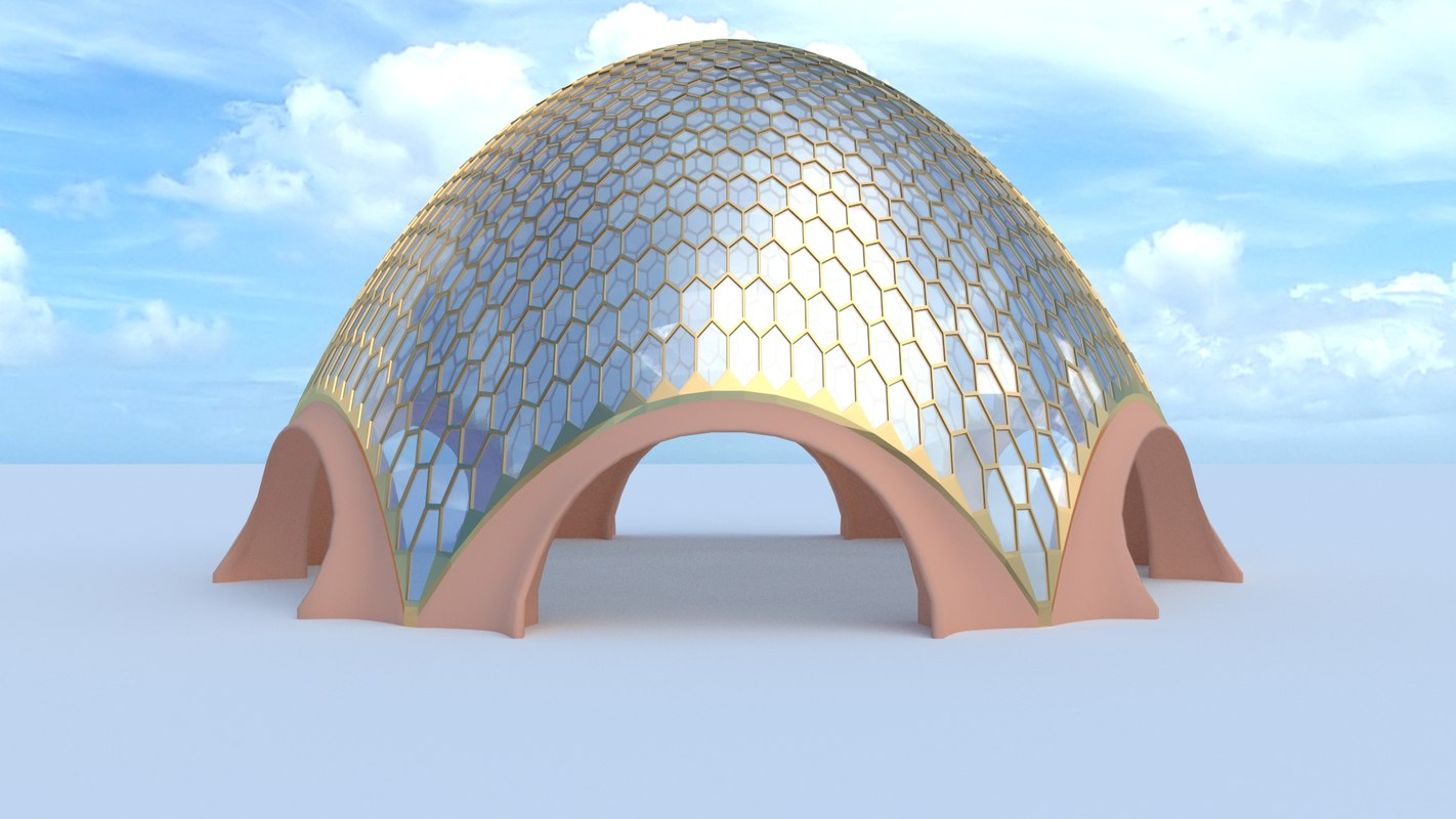3ds max glass dome egg hexagon