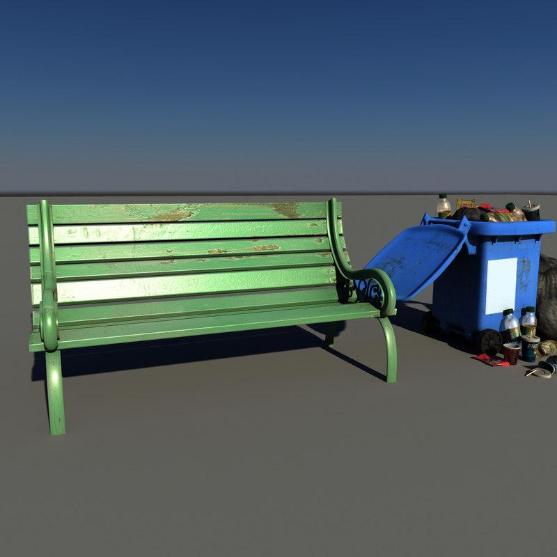 3d garden bench garbage