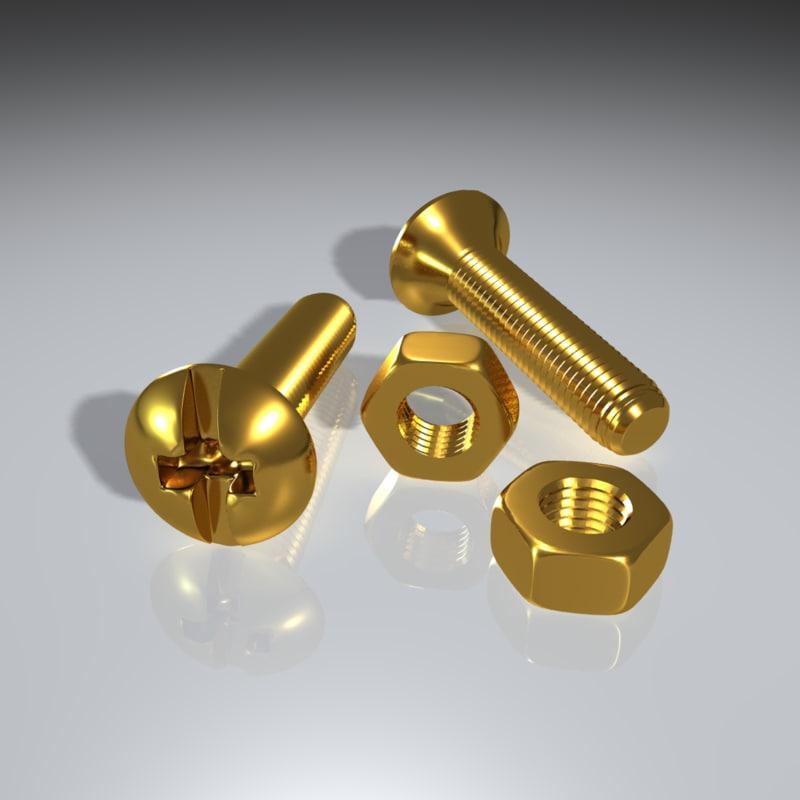 3d 3ds brass steel bolt