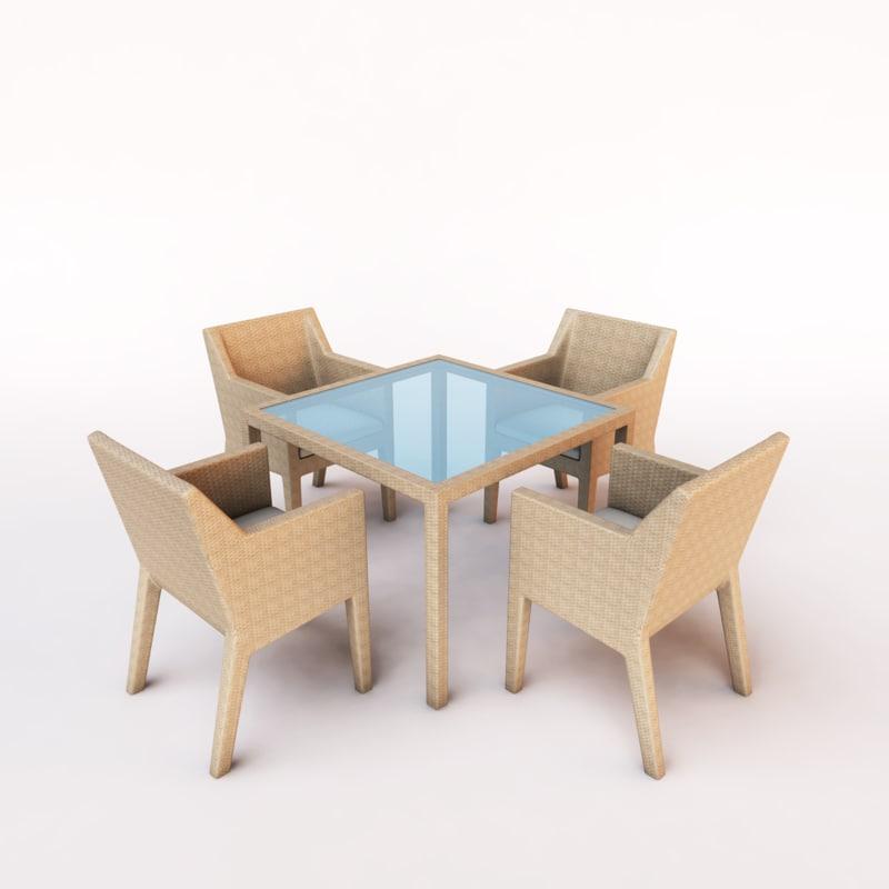 outdoor dining set wicker chair 3d model