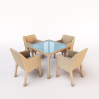outdoor dining set wicker chair 3d model