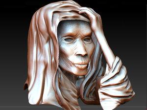3d old woman head