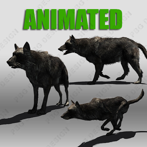 black wolf animations 3d model