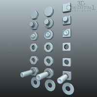 3d hardware nuts bolts washers model