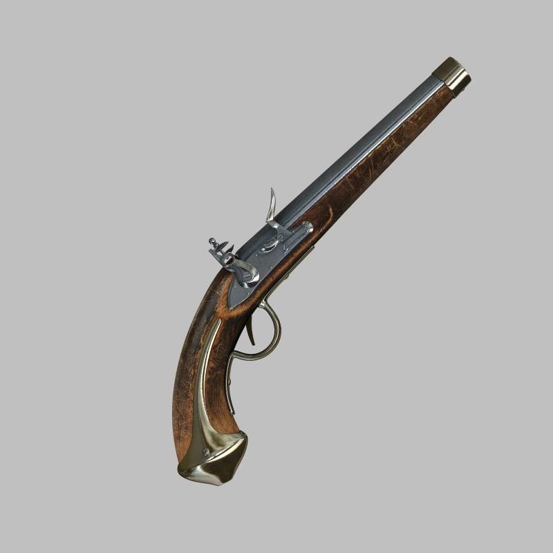 19th flintlock pistol 3d model