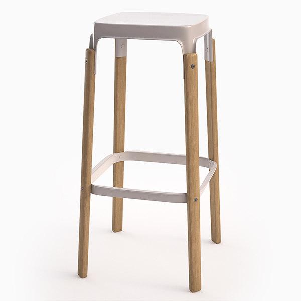 3d steelwood stool