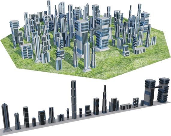 3d model futuristic building city