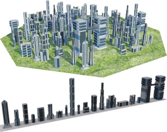 maya futuristic building city