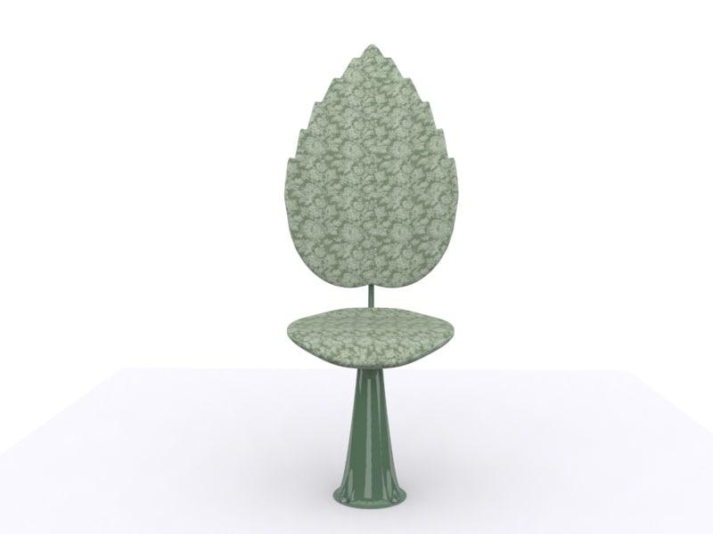 3d chair design leaf model