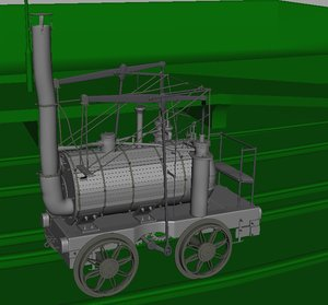 3d puffing billy steam locomotive model