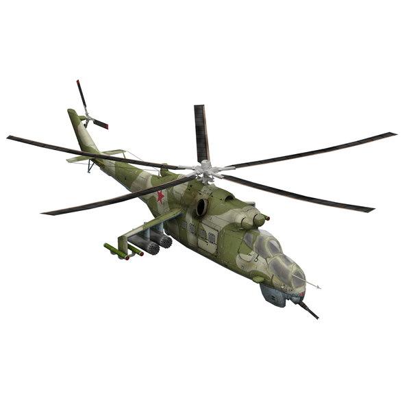 3d model mi-24 helicopter