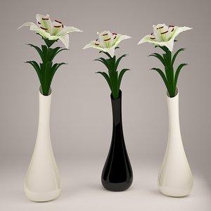 white lily vase flower 3d max