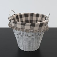 3d model white wicker basket
