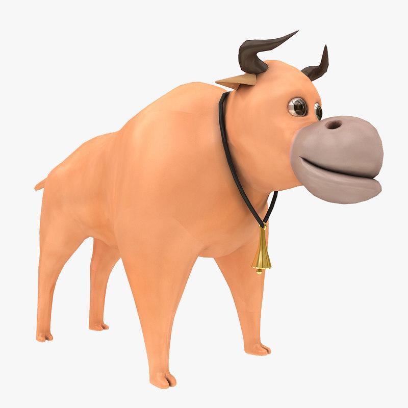 3d model bull toon