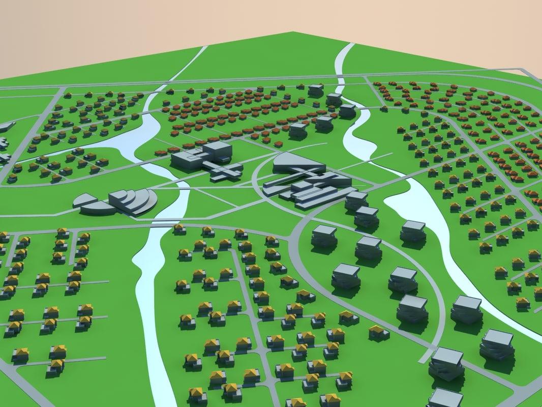 3d model cottage town