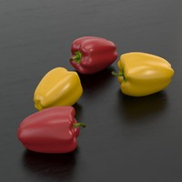 Realistic pepper sweet red and yellow