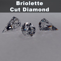 3d briolette brilliant cut diamond materials model